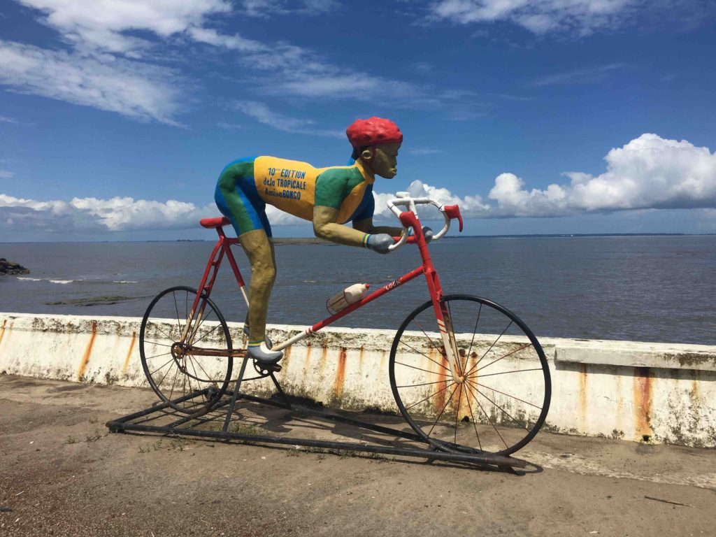 Beachfront sculpture probably inspired by the presidents investment in the Tour d'Africa which is suppose to rival the tour de France